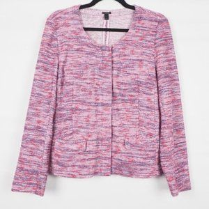 J. Crew Zip Front Round Neck Jacket Purple L